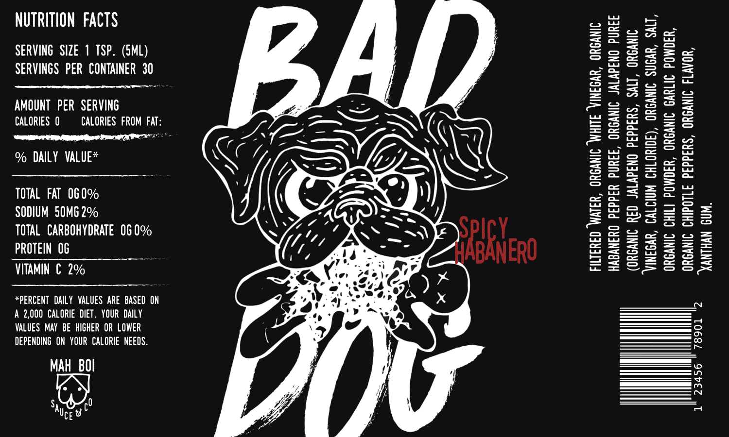 Bad Dog Hot Sauce Label