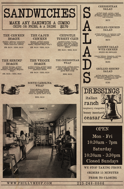 Philly Me Up Menu Side 2