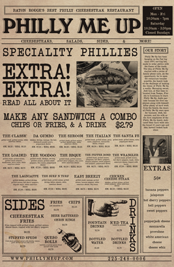 Philly Me Up Menu Side 1