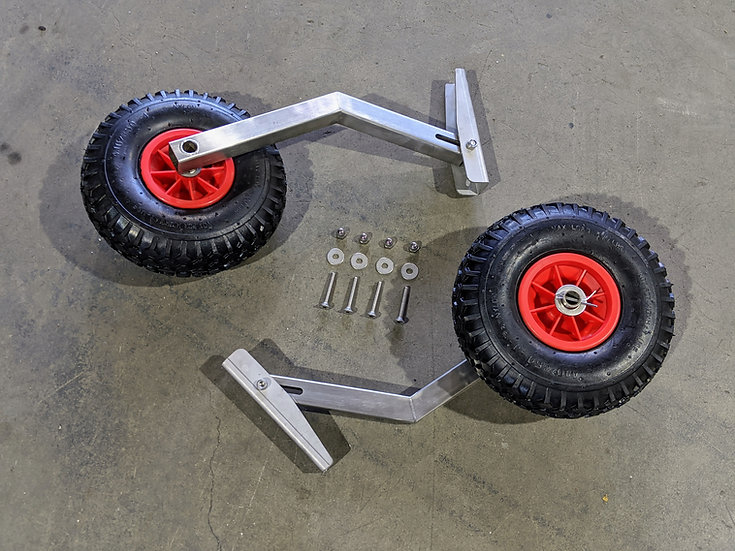 Full set of stainless steel launching wheels for inflatable boat with transom