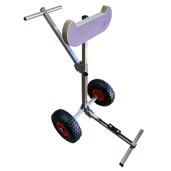 Stainless steel foldable outboard motor trolley expanded front view