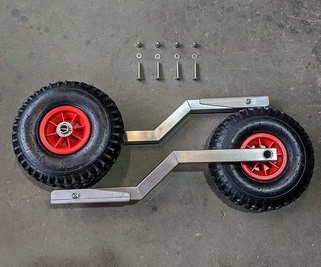 Foldable launching wheels for inflatable boat