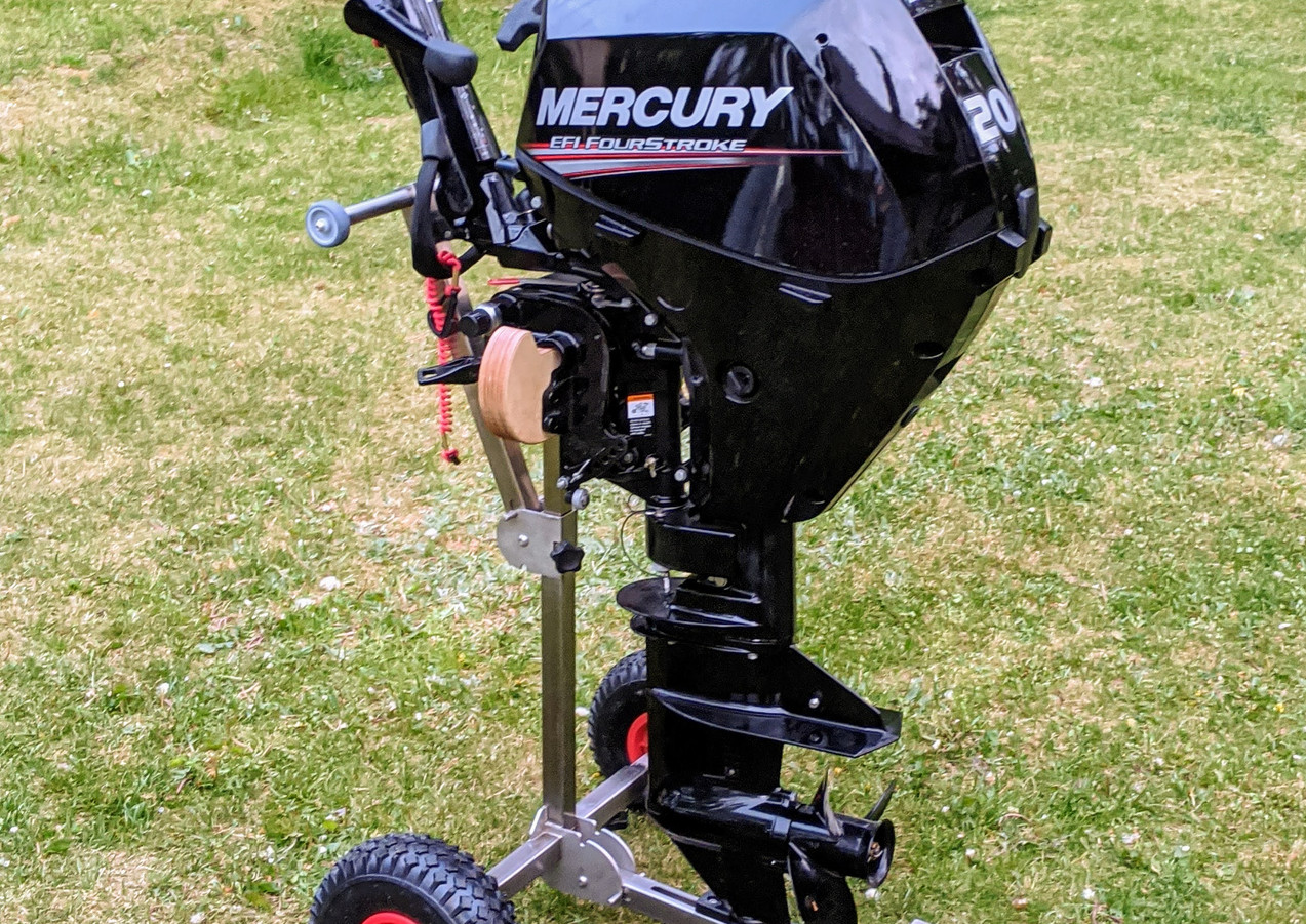 Outboard motor fixed on trolley