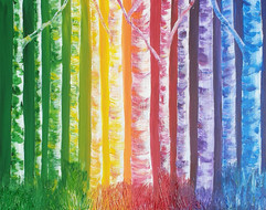 Birch Trees, year 3 students - acrylic painting