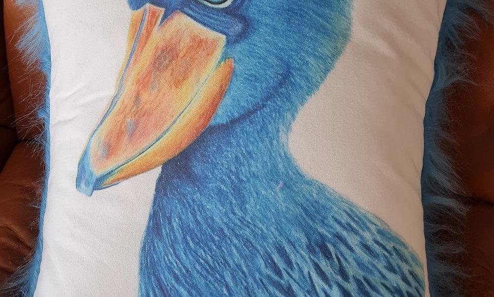 Fuzzy Shoebill Stork Cushion