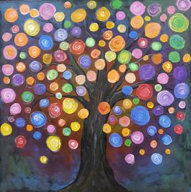 Rainbow Tree, year 2 students - acrylic painting