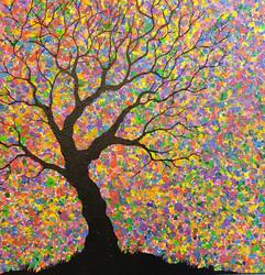 Fingerprint Tree, year 2 students - acrylic painting