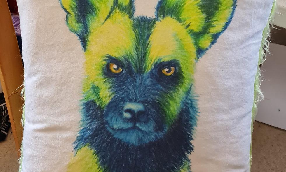 Fuzzy African Wild Dog Cushion
