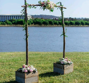 Dreamhiredesign rustic and vintage wedding hire canberra ceremony up recycled junglespirit Choice Image
