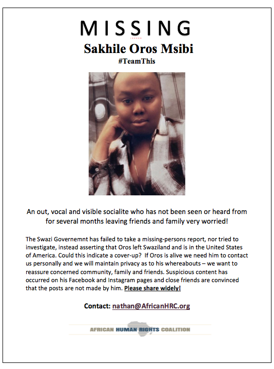 MISSING PERSON from SWAZILAND
