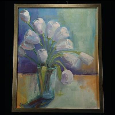 "Jinx Constine - ""White Tulips Against Blue"""