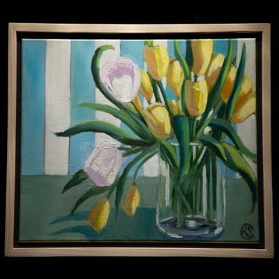 "Karen Cantor = ""Two White Tulips"""