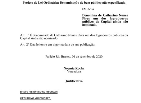 Pastor Catharino Nunes Pires poderá receber nome de rua