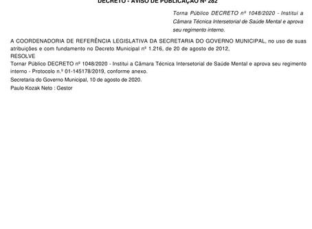 Câmara Técnica Intersetorial de Saúde Mental é instituída em Curitiba