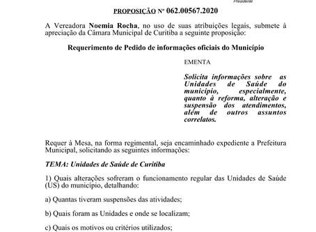 Vereadora cobra informações sobre funcionamento de unidades de saúde