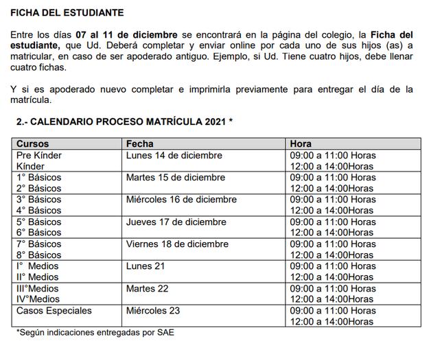 FECHAS IMPORTANTES MATRICULA 2021