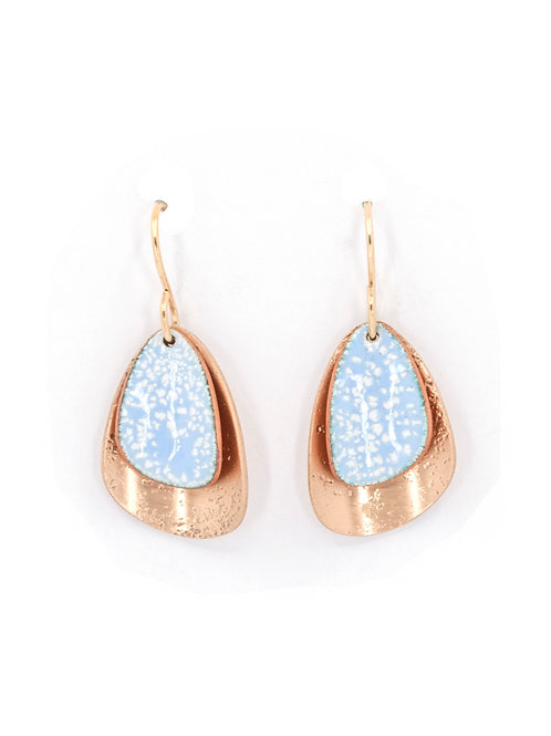 ALPENGLOW BLUE ENAMEL & BRONZE EARRINGS