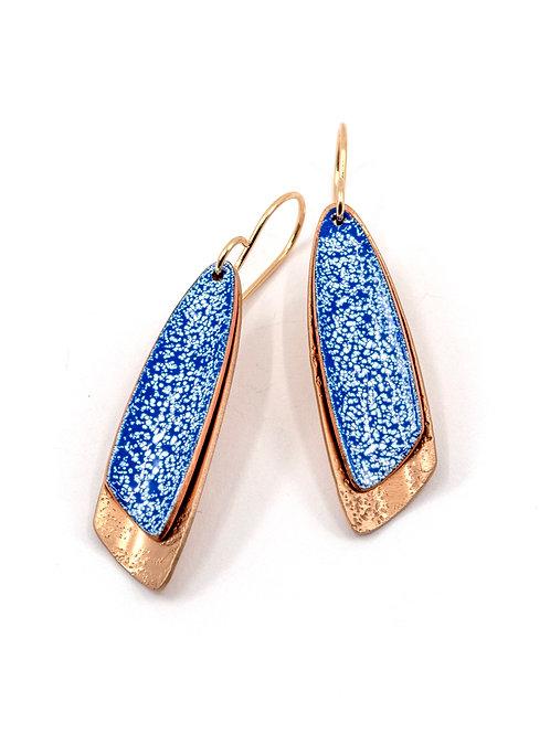 ALPENGLOW BLUE ENAMEL & BRONZE EARRINGS