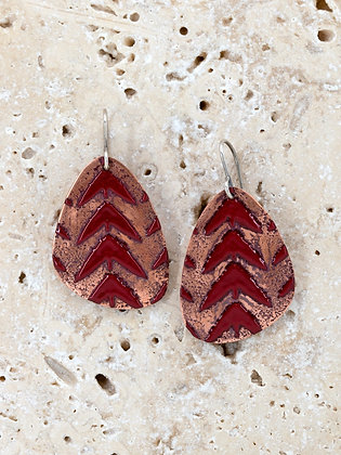 PLUMESTONE LARGE SHORT ENAMEL EARRINGS
