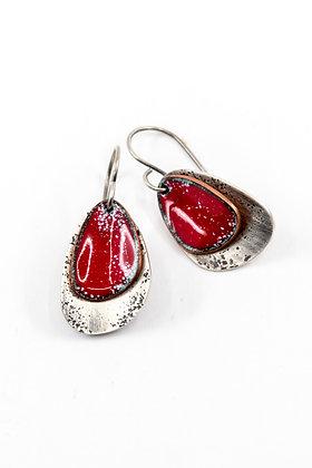 SILVER LINING RED ENAMEL EARRINGS