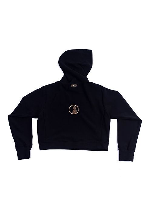 MC Unisex Reverse Medallion Logo Crop-top Hoodie