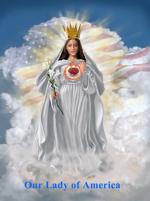 "Our Lady of America with Flag  4"" x 6"" Holy Card"