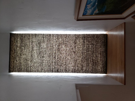 PROVENANCE Woven WOODS ROMAN Naples Seal WITH PRIVACY LINER POWERVIEW REMOTE CONTROLLED BLINDS