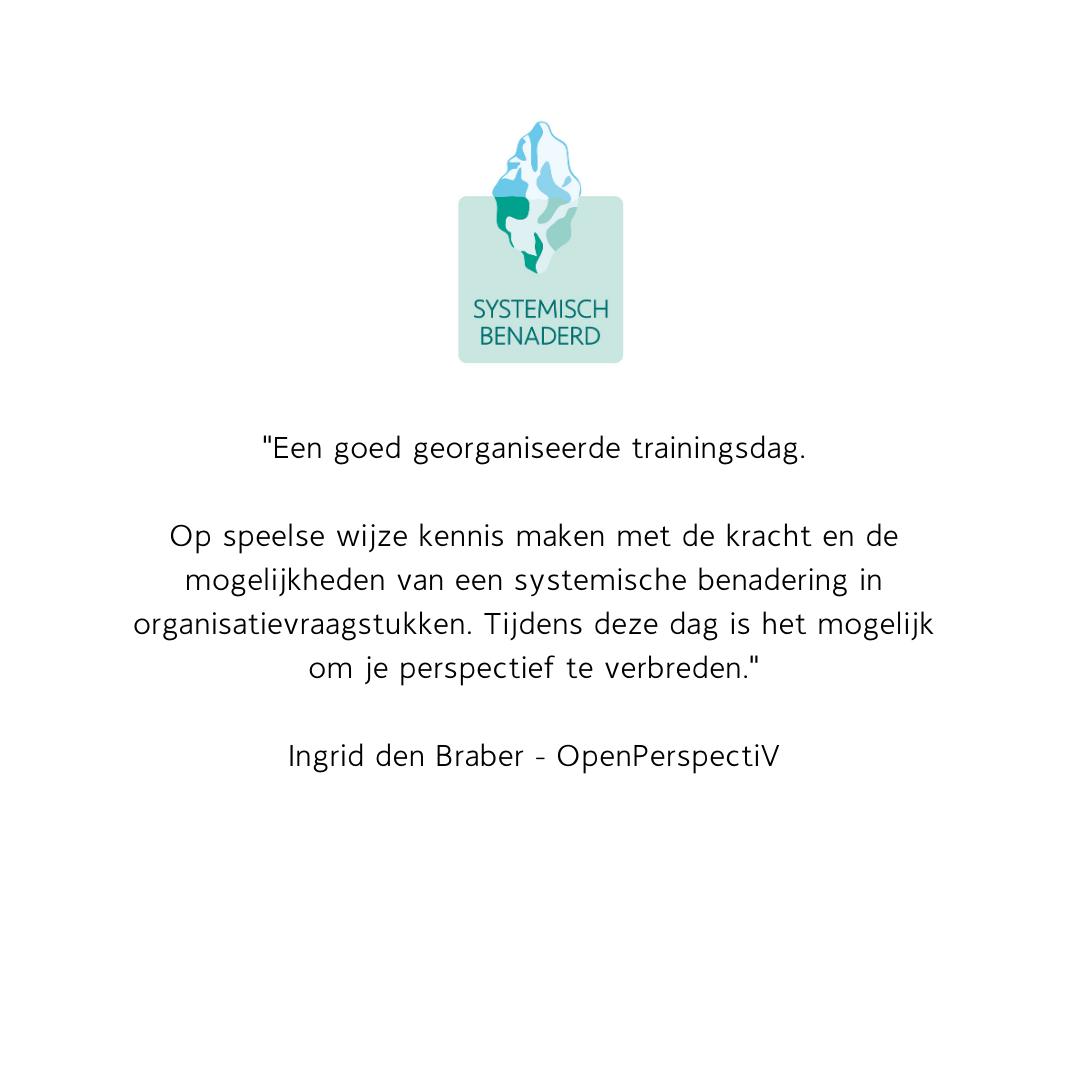 Reactie deelnemers Systemisch Benaderd Ingrid den Braber
