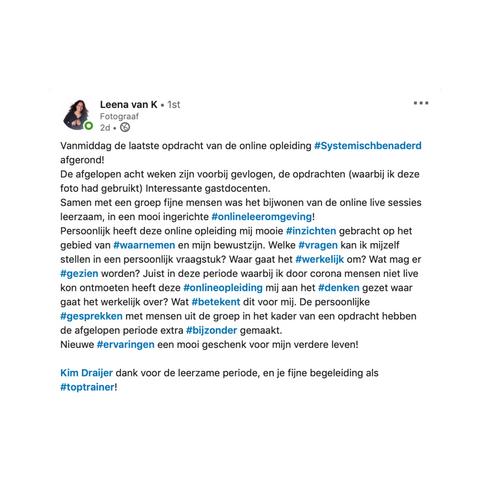 Reactie van Leena, deelnemer aan de online basisopleiding Systemisch Benaderd