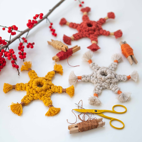 Set of 3 Handmade macrame stars ornaments