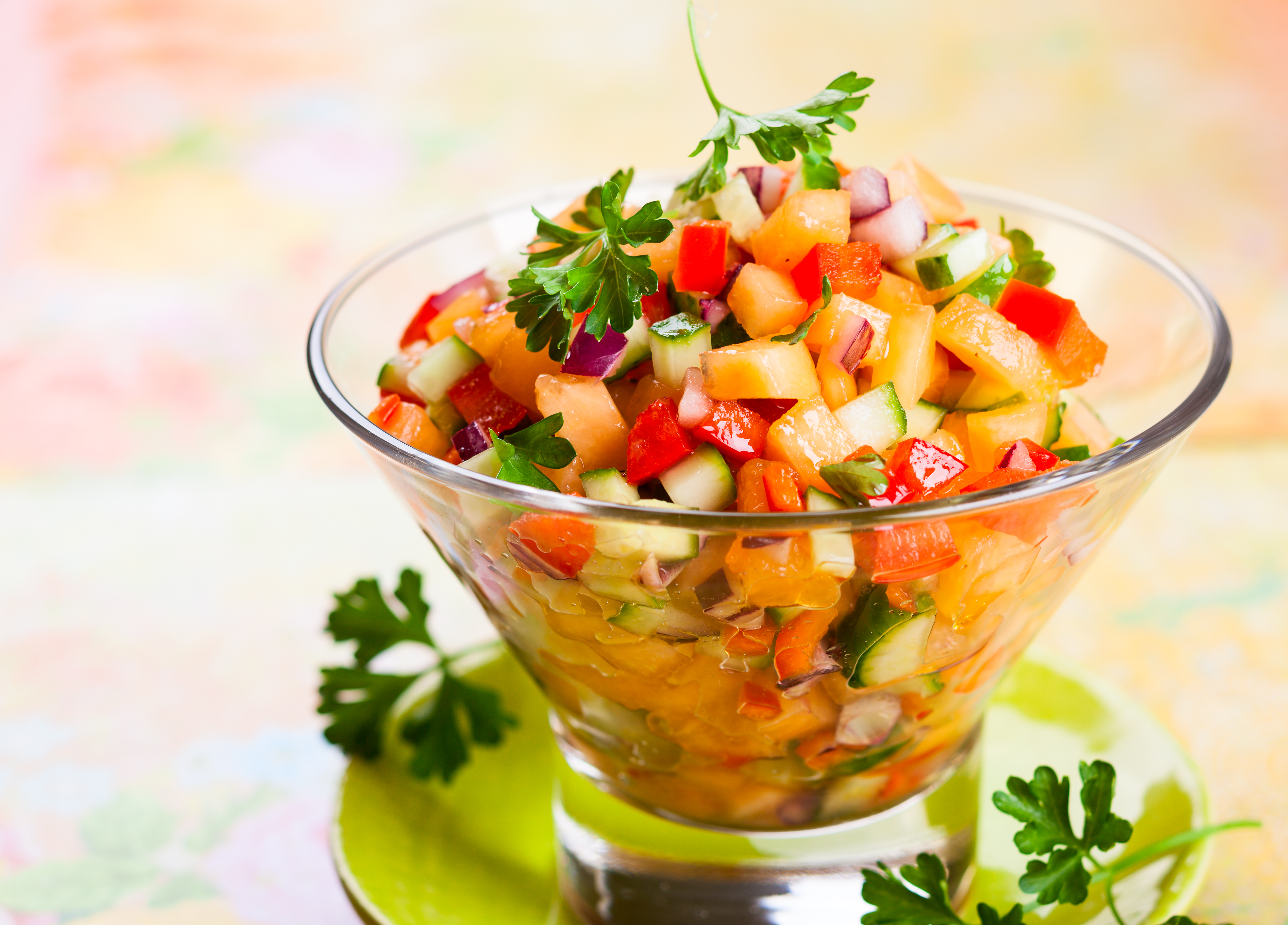 Fresh melon salsa with red pepper and cu