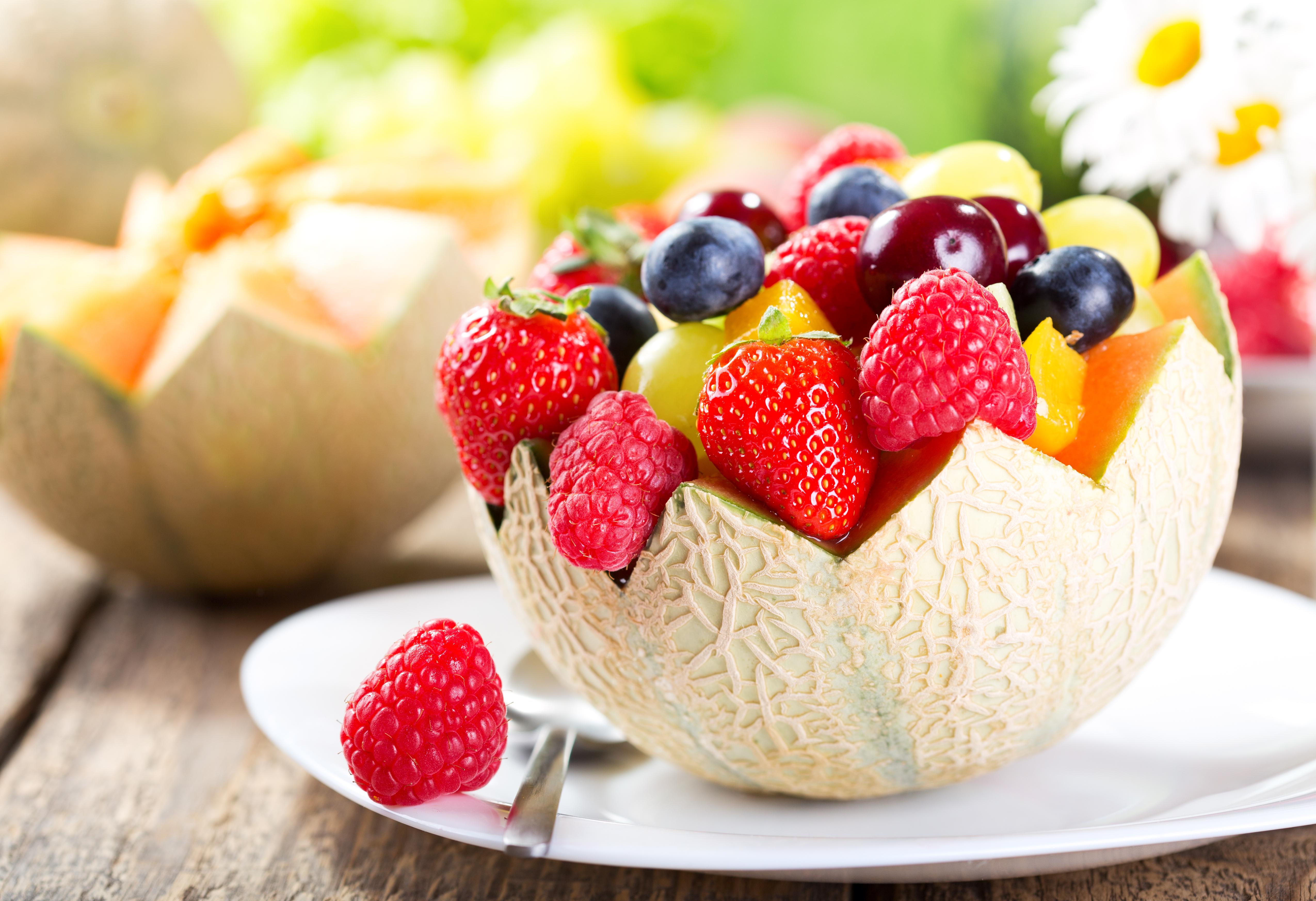 fruit salad in a half of melon