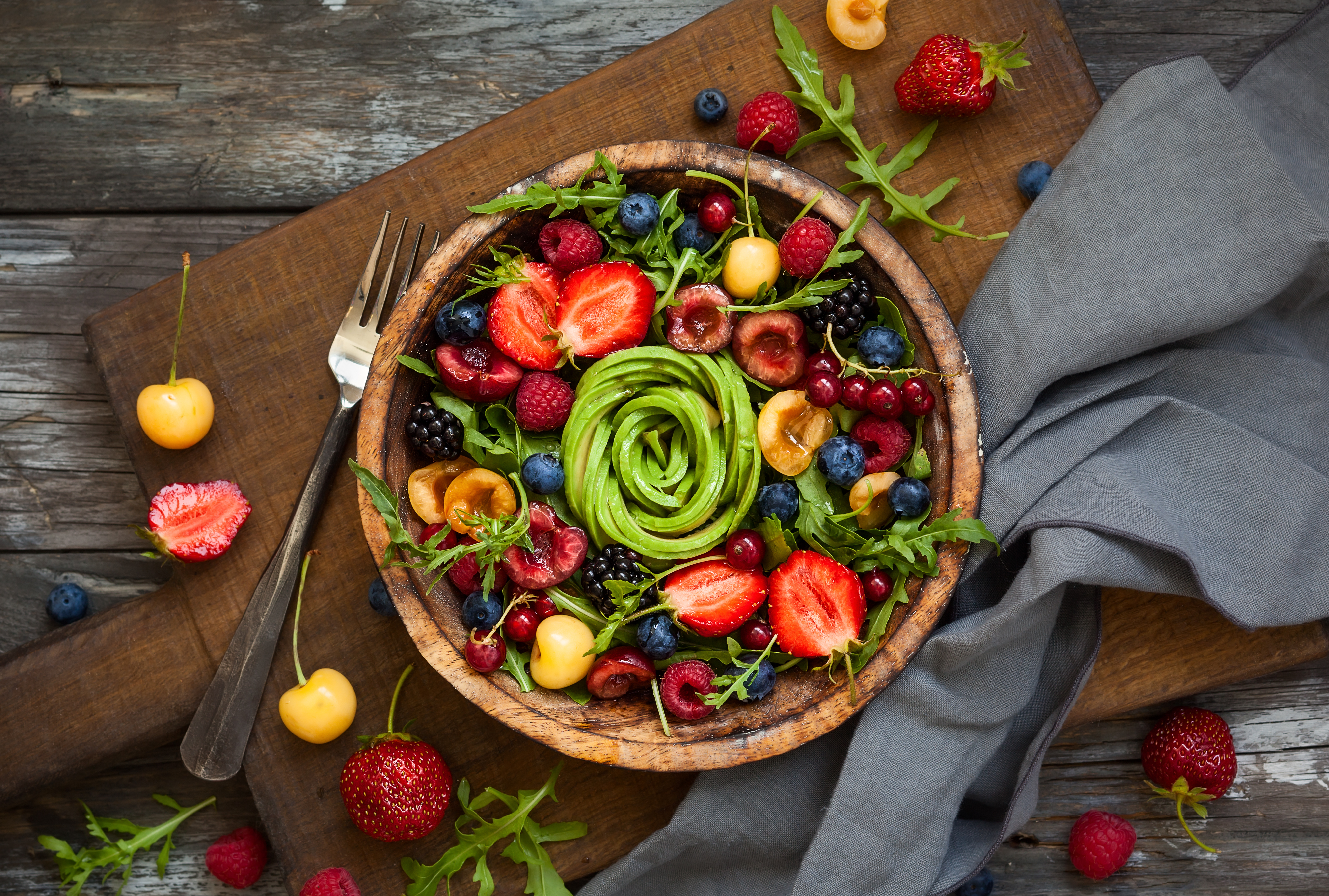 Fresh salad with fruit,berry and vegetab