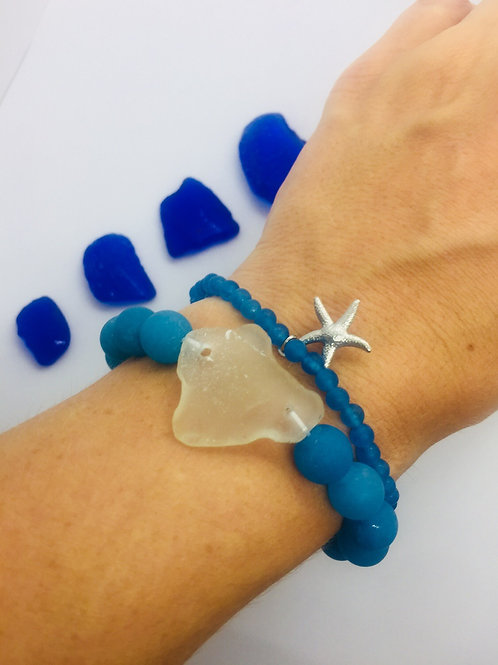 Deep blue sea bracelet stacks