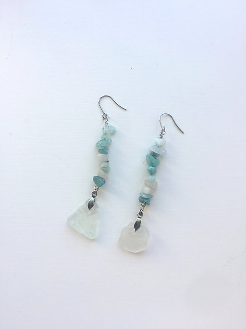 Sea Glass & Amazonite Earrings