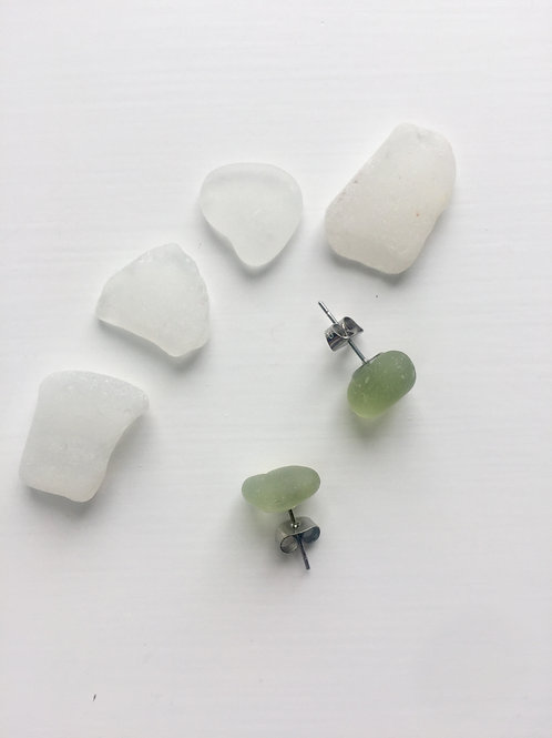 Pale Green Sea Glass studs