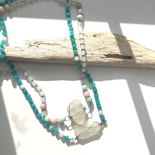 Clasp Free Multi Style Seaglass Necklace