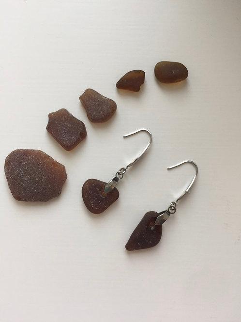 Elegant brown seaglass earrings