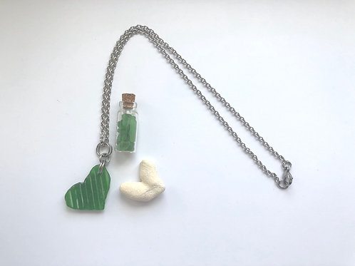 Green Love Heart Sea Glass Pendant
