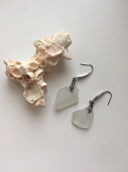 Elegant white seaglass earrings