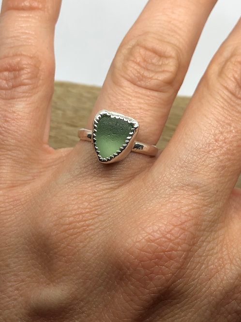 Three sides seaglass ring
