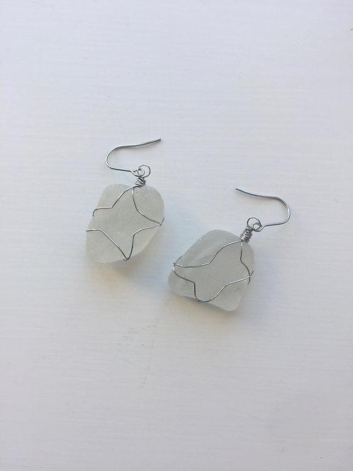 Wrap Dangles - White Sea Glass