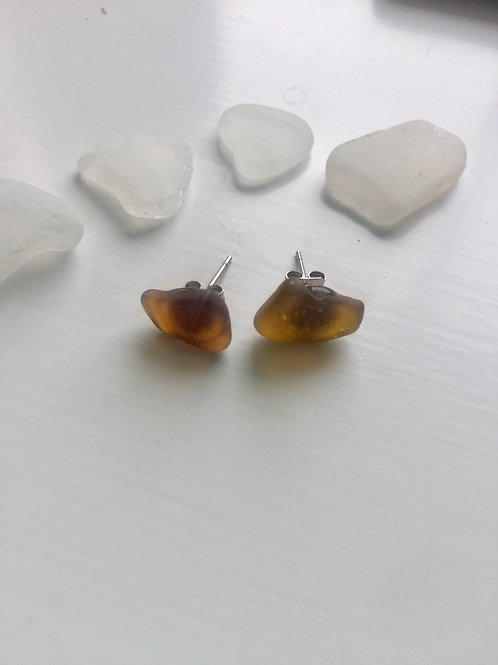 Amber Sea Glass Studs
