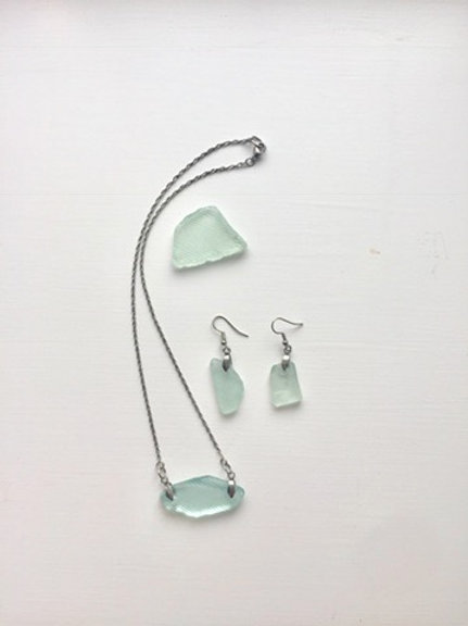 Unique Patterned Sea Glass Set (Necklace & Earrings)