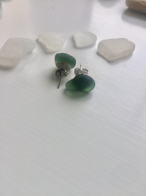 Forest Green Sea Glass Studs