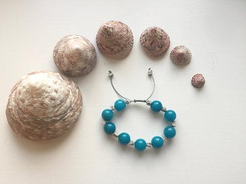 Blue Jadeite & White Howlite Macrame bracelet