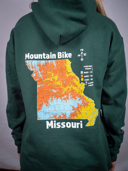 Youth Dark Green Mountain Bike Missouri Topo Pullover