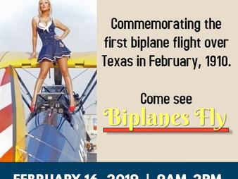 Biplanes fly into Galveston
