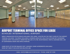 Office space available for lease at airport terminal