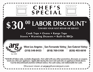 $30.00 LABOR DISCOUNT - APPLIABLE TO ALL KITCHEN UNITS WE REPAIR!